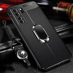 Huawei P40 Lite 5G用シリコンケース ソフトタッチラバー レザー柄 アンド指輪 マグネット式 T02 ファーウェイ ブラック