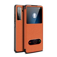 Huawei P40 Lite 5G用手帳型 レザーケース スタンド カバー T01 ファーウェイ オレンジ