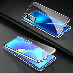 Huawei P40 Lite 5G用ケース 高級感 手触り良い アルミメタル 製の金属製 360度 フルカバーバンパー 鏡面 カバー ファーウェイ シルバー