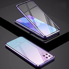 Huawei P40 Lite用ケース 高級感 手触り良い アルミメタル 製の金属製 360度 フルカバーバンパー 鏡面 カバー M01 ファーウェイ パープル