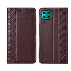 Huawei P40 Lite用手帳型 レザーケース スタンド カバー T06 ファーウェイ ブラウン