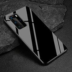 Huawei P40 Pro用ハイブリットバンパーケース プラスチック 鏡面 カバー T03 ファーウェイ ブラック