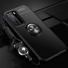 Huawei P40 Pro用極薄ソフトケース シリコンケース 耐衝撃 全面保護 アンド指輪 マグネット式 バンパー T04 ファーウェイ ブラック