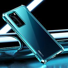 Huawei P40 Pro用極薄ソフトケース シリコンケース 耐衝撃 全面保護 クリア透明 S04 ファーウェイ シアン