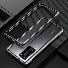 Huawei P40 Pro用ケース 高級感 手触り良い アルミメタル 製の金属製 バンパー カバー T01 ファーウェイ ブラック