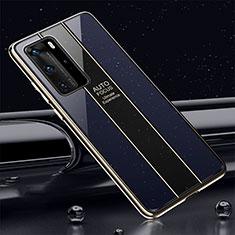 Huawei P40 Pro用ハイブリットバンパーケース プラスチック 鏡面 カバー T04 ファーウェイ ネイビー