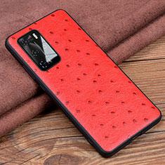 Huawei P40 Pro用ケース 高級感 手触り良いレザー柄 R04 ファーウェイ レッド