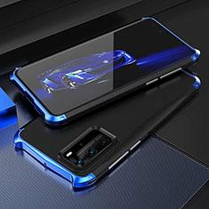 Huawei P40 Pro用ケース 高級感 手触り良い アルミメタル 製の金属製 カバー T05 ファーウェイ ネイビー