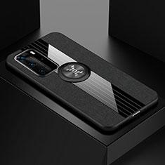 Huawei P40 Pro用極薄ソフトケース シリコンケース 耐衝撃 全面保護 アンド指輪 マグネット式 バンパー ファーウェイ ブラック