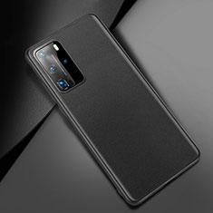 Huawei P40 Pro用ケース 高級感 手触り良いレザー柄 ファーウェイ ブラック