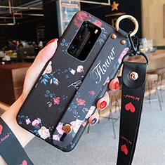 Huawei P40 Pro用シリコンケース ソフトタッチラバー 花 カバー ファーウェイ レッド