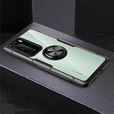 Huawei P40 Pro用360度 フルカバーハイブリットバンパーケース クリア透明 プラスチック 鏡面 アンド指輪 マグネット式 ファーウェイ ブラック