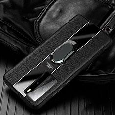 Huawei P40 Pro用シリコンケース ソフトタッチラバー レザー柄 アンド指輪 マグネット式 S04 ファーウェイ ブラック