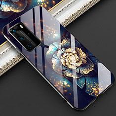 Huawei P40 Pro用ハイブリットバンパーケース プラスチック 鏡面 花 カバー ファーウェイ マルチカラー