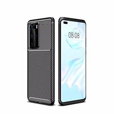 Huawei P40 Pro用シリコンケース ソフトタッチラバー ツイル カバー ファーウェイ ブラック