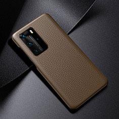 Huawei P40 Pro用ケース 高級感 手触り良いレザー柄 S03 ファーウェイ ブラウン