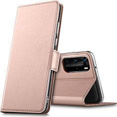 Huawei P40 Pro用手帳型 レザーケース スタンド カバー L05 ファーウェイ ローズゴールド
