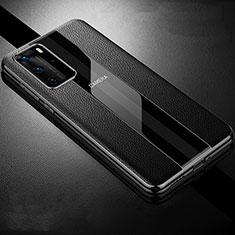 Huawei P40 Pro用シリコンケース ソフトタッチラバー レザー柄 カバー S06 ファーウェイ ブラック