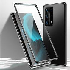Huawei P40 Pro+ Plus用ケース 高級感 手触り良い アルミメタル 製の金属製 360度 フルカバーバンパー 鏡面 カバー T01 ファーウェイ ブラック
