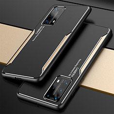 Huawei P40 Pro+ Plus用ケース 高級感 手触り良い アルミメタル 製の金属製 カバー T01 ファーウェイ ゴールド