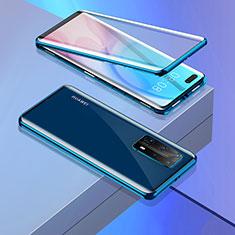 Huawei P40 Pro+ Plus用ケース 高級感 手触り良い アルミメタル 製の金属製 360度 フルカバーバンパー 鏡面 カバー T02 ファーウェイ ネイビー