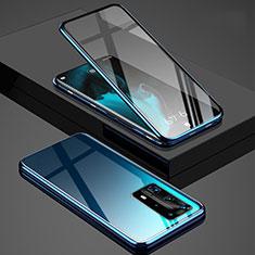 Huawei P40 Pro+ Plus用ケース 高級感 手触り良い アルミメタル 製の金属製 360度 フルカバーバンパー 鏡面 カバー T03 ファーウェイ ネイビー