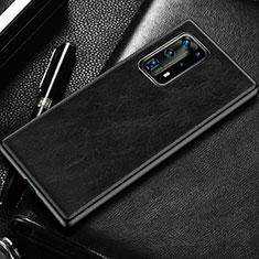 Huawei P40 Pro+ Plus用ケース 高級感 手触り良いレザー柄 R03 ファーウェイ ブラック