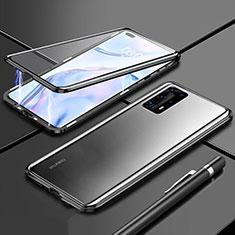 Huawei P40 Pro+ Plus用ケース 高級感 手触り良い アルミメタル 製の金属製 360度 フルカバーバンパー 鏡面 カバー T04 ファーウェイ ブラック