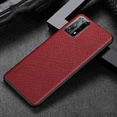 Huawei P40 Pro+ Plus用ケース 高級感 手触り良いレザー柄 R02 ファーウェイ レッド