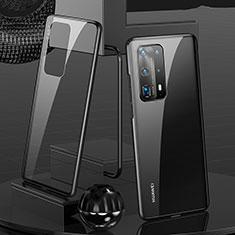 Huawei P40 Pro+ Plus用ケース 高級感 手触り良い アルミメタル 製の金属製 360度 フルカバーバンパー 鏡面 カバー T05 ファーウェイ ブラック