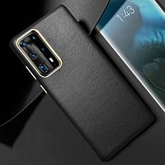 Huawei P40 Pro+ Plus用ケース 高級感 手触り良いレザー柄 R01 ファーウェイ ブラック