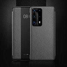 Huawei P40 Pro+ Plus用手帳型 レザーケース スタンド カバー T02 ファーウェイ ブラック