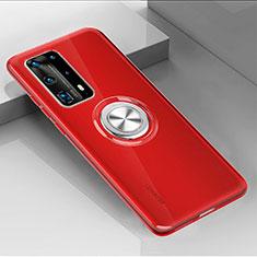 Huawei P40 Pro+ Plus用極薄ソフトケース シリコンケース 耐衝撃 全面保護 クリア透明 アンド指輪 マグネット式 C01 ファーウェイ レッド
