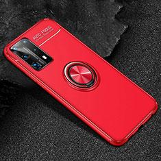 Huawei P40 Pro+ Plus用極薄ソフトケース シリコンケース 耐衝撃 全面保護 アンド指輪 マグネット式 バンパー T01 ファーウェイ レッド
