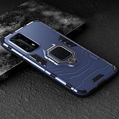 Huawei P40 Pro+ Plus用ハイブリットバンパーケース プラスチック アンド指輪 マグネット式 ファーウェイ ネイビー