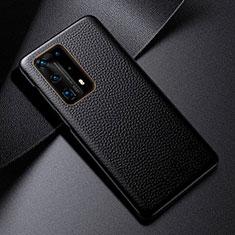 Huawei P40 Pro+ Plus用ケース 高級感 手触り良いレザー柄 S03 ファーウェイ ブラック