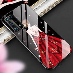 Huawei P40 Pro+ Plus用ハイブリットバンパーケース プラスチック ドレスガール ドレス少女 鏡面 カバー ファーウェイ レッド