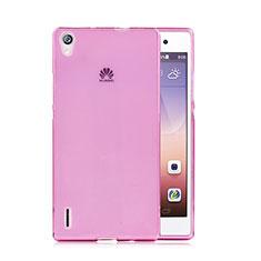 Huawei P7 Dual SIM用極薄ソフトケース シリコンケース 耐衝撃 全面保護 クリア透明 ファーウェイ ピンク