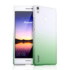 Huawei P7 Dual SIM用ハードケース グラデーション 勾配色 クリア透明 ファーウェイ グリーン