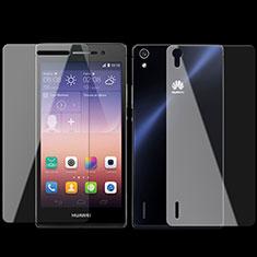 Huawei P7 Dual SIM用強化ガラス 液晶保護フィルム 背面保護フィルム同梱 ファーウェイ クリア