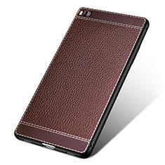 Huawei P8用シリコンケース ソフトタッチラバー レザー柄 ファーウェイ ブラウン