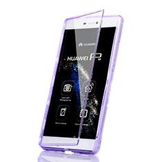 Huawei P8用ソフトケース フルカバー クリア透明 ファーウェイ パープル