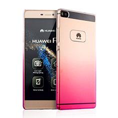 Huawei P8用ハードケース グラデーション 勾配色 クリア透明 ファーウェイ ピンク