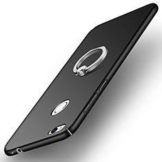Huawei P8 Lite (2017)用ハードケース プラスチック 質感もマット アンド指輪 A03 ファーウェイ ブラック
