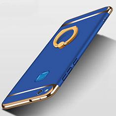 Huawei P8 Lite (2017)用ケース 高級感 手触り良い メタル兼プラスチック バンパー アンド指輪 ファーウェイ ネイビー