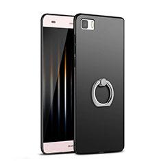 Huawei P8 Lite用ハードケース プラスチック 質感もマット アンド指輪 ファーウェイ ブラック