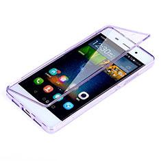 Huawei P8 Lite用ソフトケース フルカバー クリア透明 ファーウェイ パープル