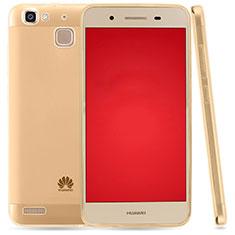 Huawei P8 Lite Smart用極薄ソフトケース シリコンケース 耐衝撃 全面保護 クリア透明 T03 ファーウェイ ゴールド