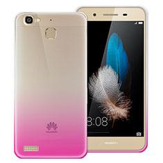 Huawei P8 Lite Smart用極薄ソフトケース グラデーション 勾配色 クリア透明 ファーウェイ ローズレッド