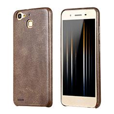 Huawei P8 Lite Smart用ケース 高級感 手触り良いレザー柄 ファーウェイ ブラウン